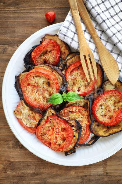 баклажан помидоров вкусный вегетарианский пиццы Сток-фото © Anna_Om