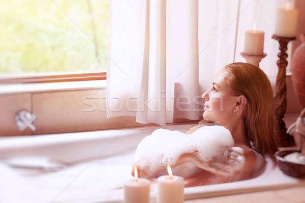 Foto stock: Beautiful · girl · estância · termal · hotel · tempo · relaxante · bom