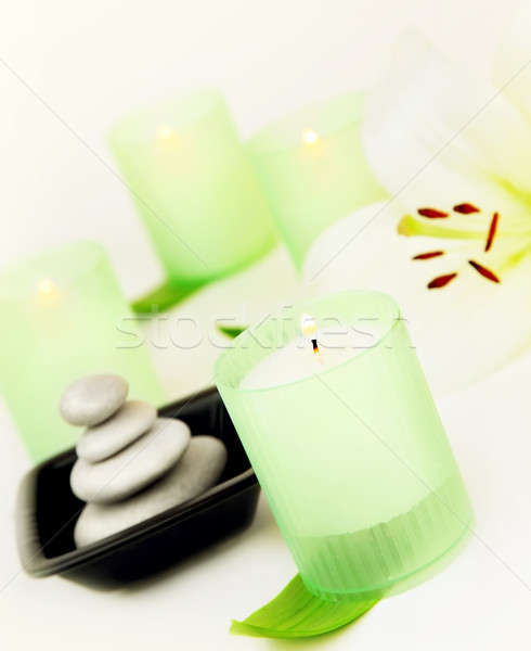 Spa candle and stones Stock photo © Anna_Om