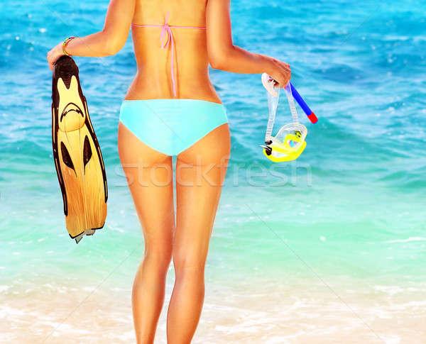 Сток-фото: лет · весело · пляж · красивой · женщины