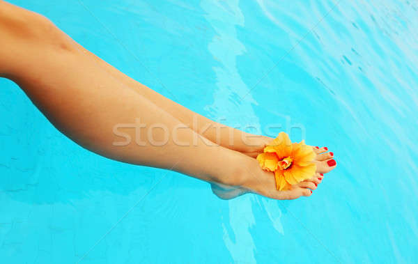 Beautiful female legs in the pool Stock photo © Anna_Om