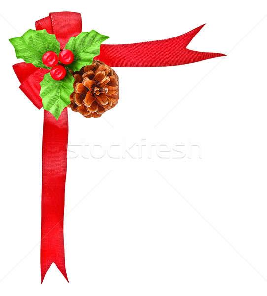 Stock fotó: Bogyó · piros · íj · szalag · karácsony · dekoráció
