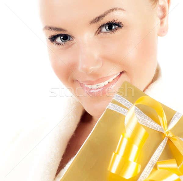 Uśmiechnięta twarz szkatułce dar piękna kobiet Zdjęcia stock © Anna_Om