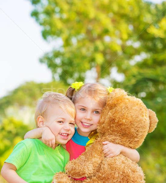 Happy children on backyard Stock photo © Anna_Om