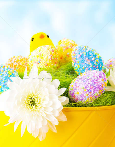 Colorful Easter eggs with chick Stock photo © Anna_Om