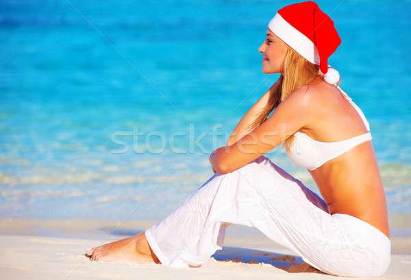 Christmas wakacje Malediwy dość kobiet plaży Zdjęcia stock © Anna_Om