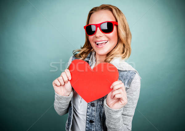 Cheerful female with paper heart Stock photo © Anna_Om