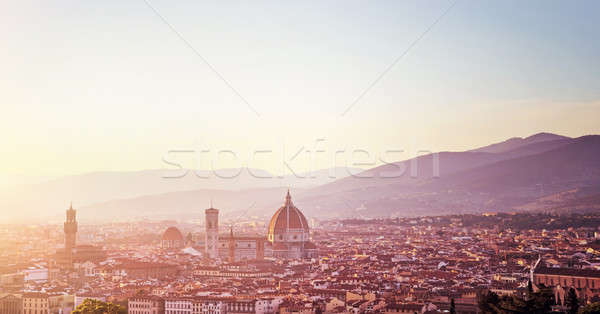 Panoramic sunset landscape of Florence Stock photo © Anna_Om