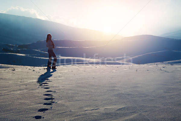 Traveler woman in the mountains Stock photo © Anna_Om