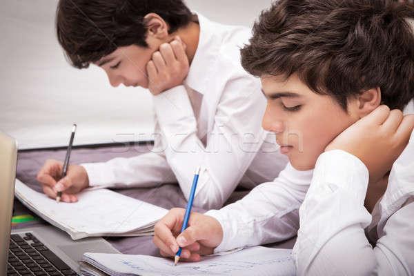 Foto d'archivio: Due · ragazzi · compiti · per · casa · ragazzi · adolescenti · home · iscritto
