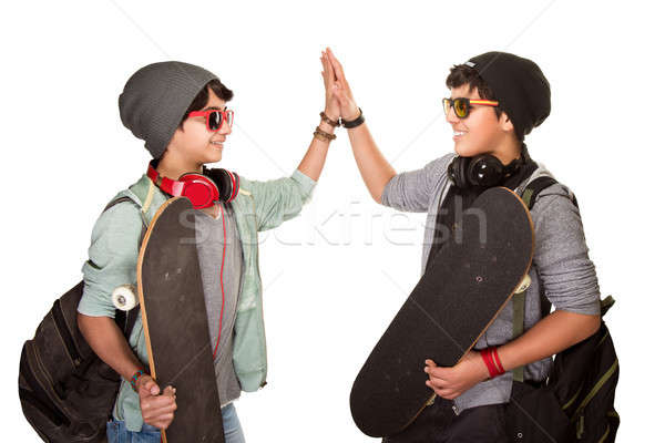 Two happy skateboarders Stock photo © Anna_Om