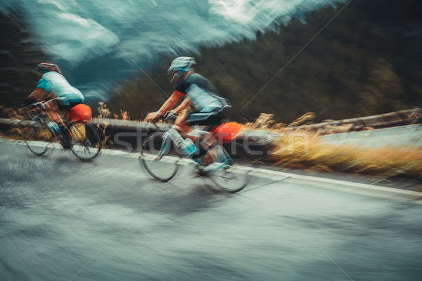 Two sportsmans on the bicycles Stock photo © Anna_Om