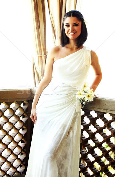 счастливым невеста молодые улыбаясь цветы свадьба Сток-фото © Anna_Om