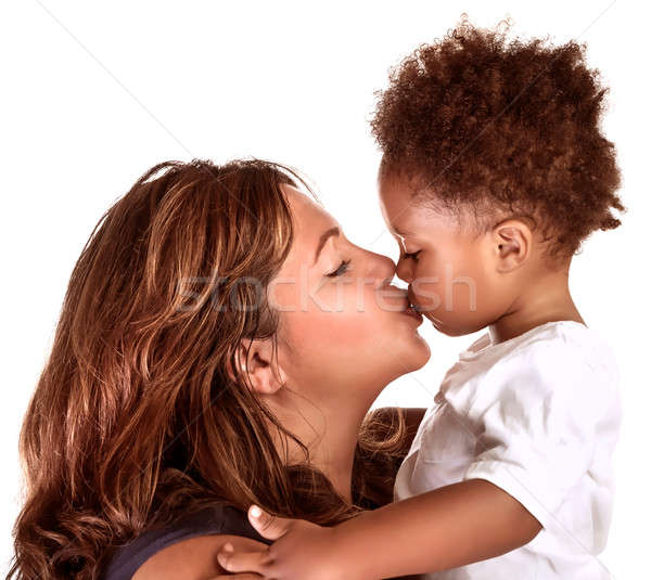 Cheerful mother kissing baby Stock photo © Anna_Om