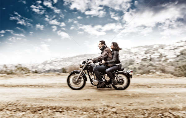Active couple on the motobike Stock photo © Anna_Om