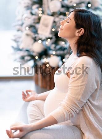 妊婦 瞑想 健康 ヨガ 行使 ホーム ストックフォト © Anna_Om