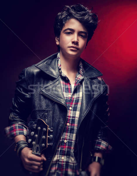 Teen guy posing with guitar Stock photo © Anna_Om