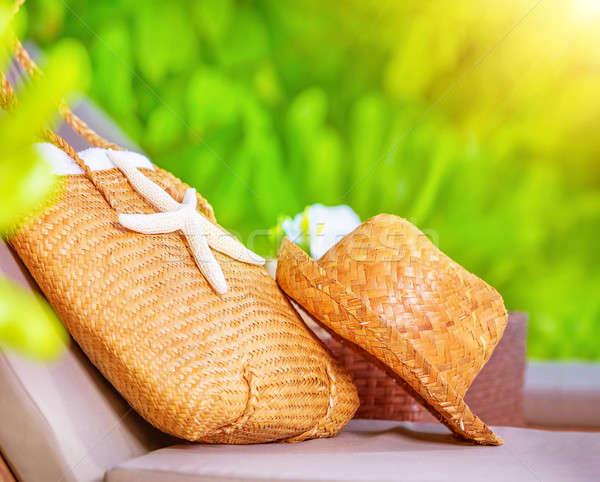 été chapeau de paille sac décoré starfish Photo stock © Anna_Om