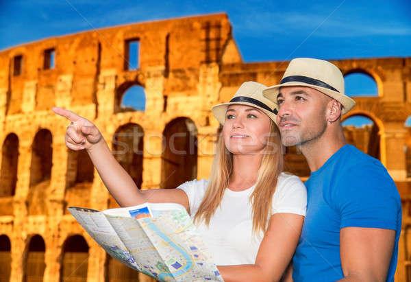 Reizen Rome mooie actief paar kaart Stockfoto © Anna_Om