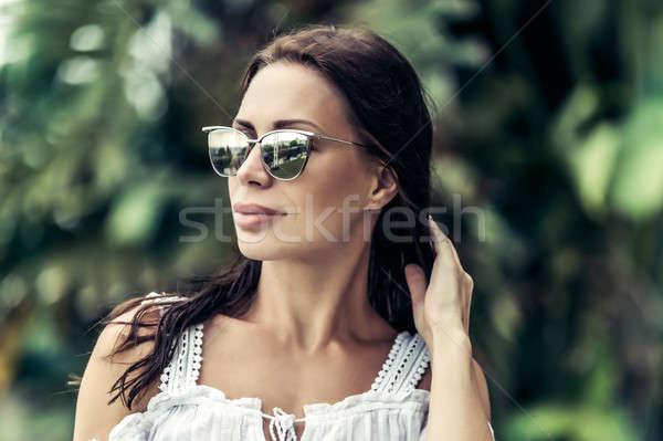Сток-фото: красивая · женщина · Летние · каникулы · портрет · красивой · женщину