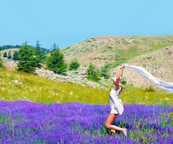 Beautiful girl dancing on lavender field Stock photo © Anna_Om