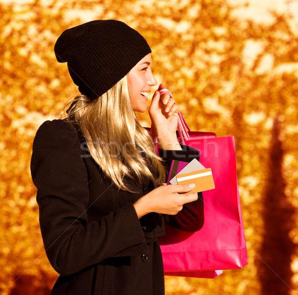 Menina bolsa de compras foto bonitinho loiro rosa Foto stock © Anna_Om