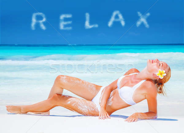 Girl relaxing on the beach Stock photo © Anna_Om