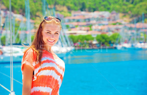 счастливым женщину яхта порта портрет лет Сток-фото © Anna_Om