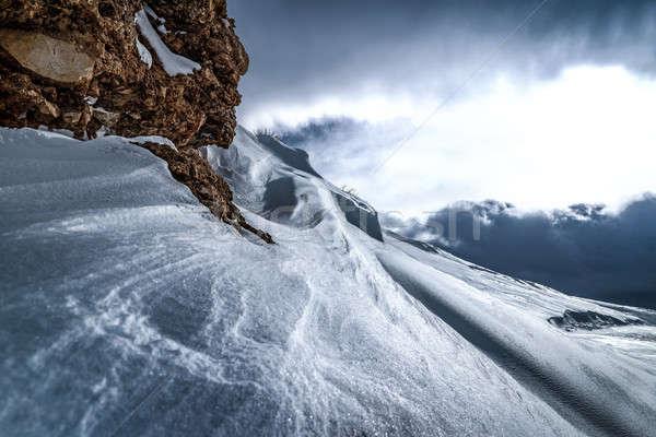 Gyönyörű tél tájkép hideg időjárás hegyek Stock fotó © Anna_Om