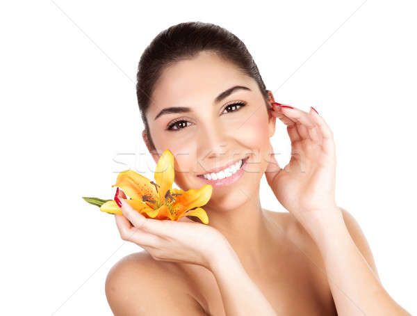 Woman with yellow lily Stock photo © Anna_Om