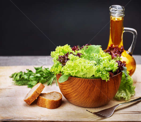 Vegetarian salad and olive oil Stock photo © Anna_Om