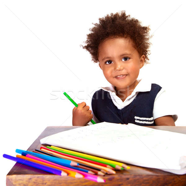 Little black schoolboy Stock photo © Anna_Om