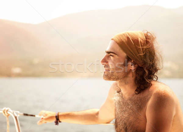 Handsome man on the yacht Stock photo © Anna_Om
