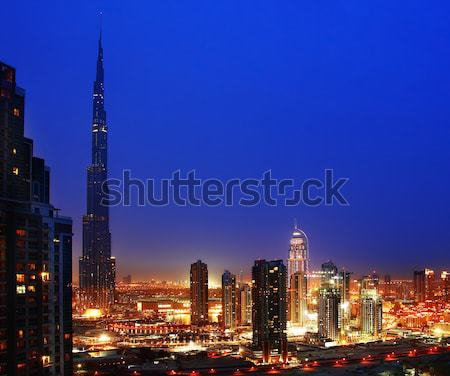 Dubai şehir merkezinde gece şehir ışıkları güzel Stok fotoğraf © Anna_Om