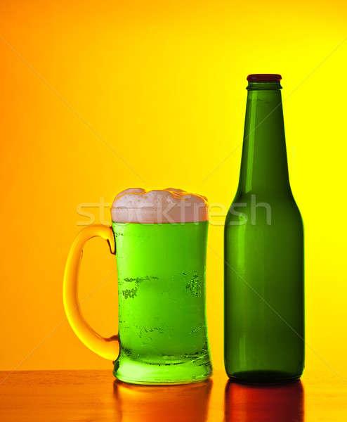 Verde irlandês cerveja vidro frio beber Foto stock © Anna_Om