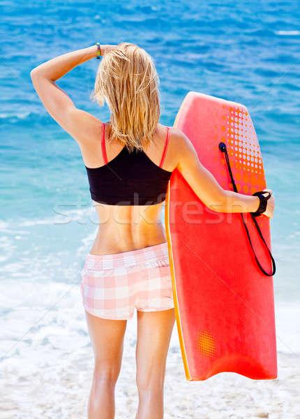 Lány szörfös tengerpart gyönyörű sportos női Stock fotó © Anna_Om