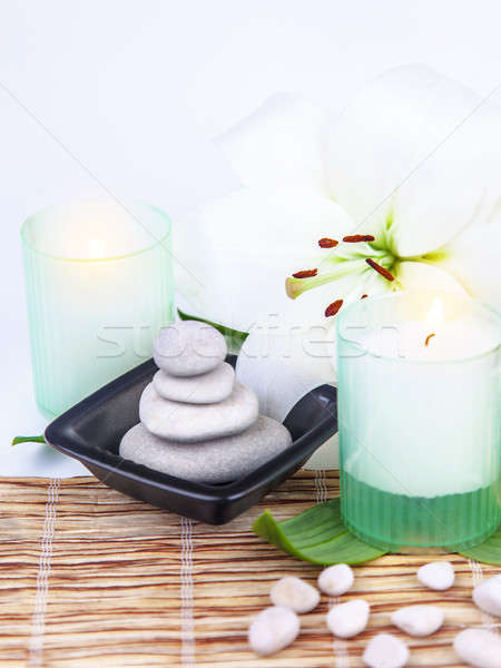 Spa stones and candle Stock photo © Anna_Om