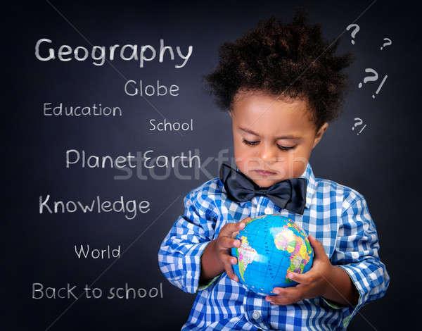 Geografia lezione primo piano ritratto cute piccolo Foto d'archivio © Anna_Om