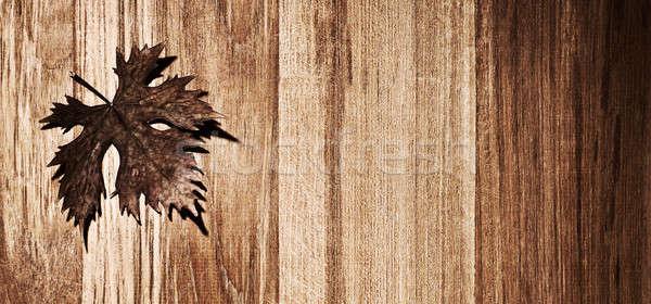 Autumn leaf wooden border Stock photo © Anna_Om