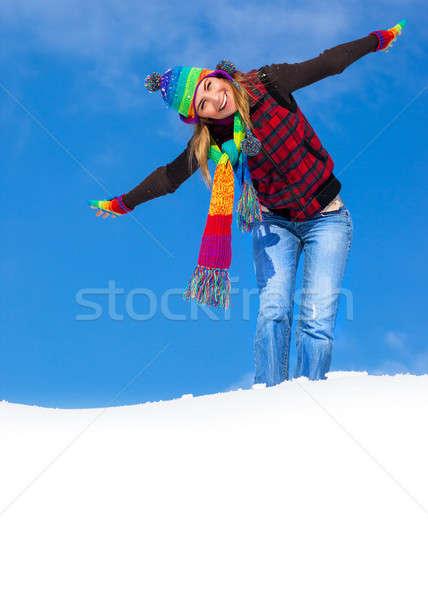Stock fotó: Boldog · női · fotó · aranyos · élvezi · tél