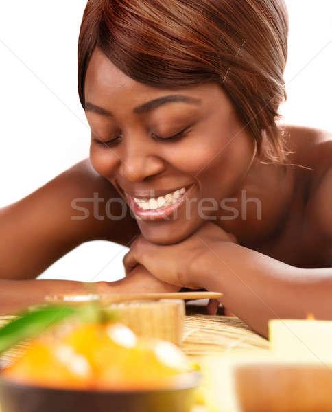 African female at spa salon Stock photo © Anna_Om