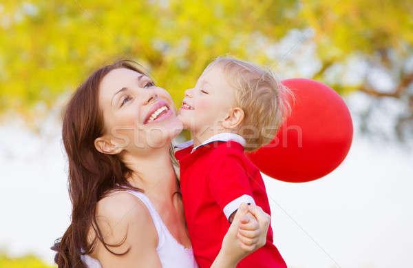 Kicsi fiú csók anya kép aranyos Stock fotó © Anna_Om