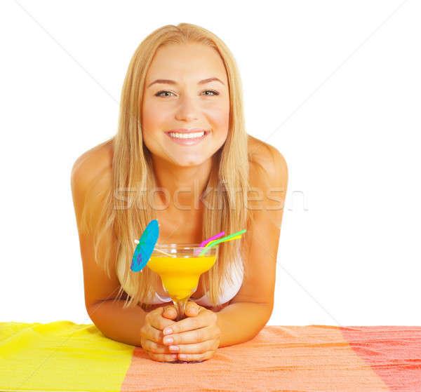 счастливая девушка коктейль счастливым улыбаясь девушки Сток-фото © Anna_Om