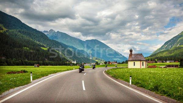Bikers on mountainous highway Stock photo © Anna_Om