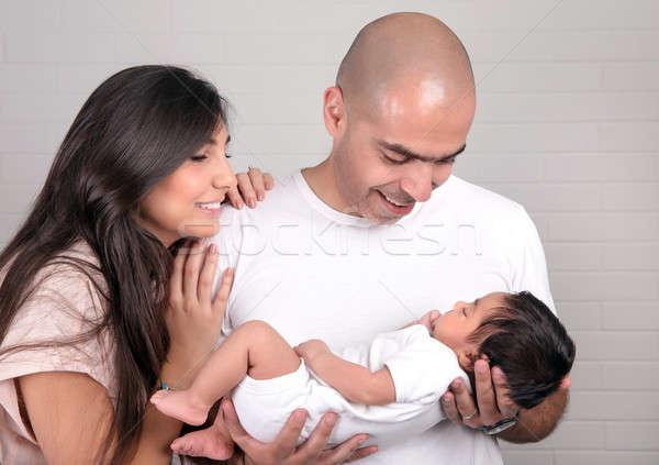 Boldog nevelés fiatal szülők néz kicsi Stock fotó © Anna_Om