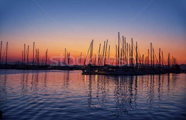 Porto tramonto sagome lusso vela porta Foto d'archivio © Anna_Om