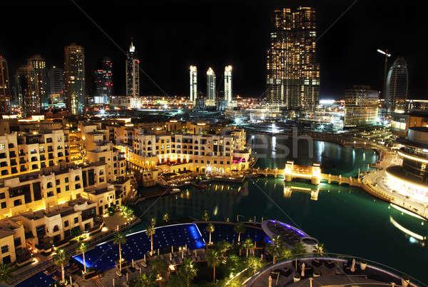 Night City Dubai centro notte acqua costruzione Foto d'archivio © Anna_Om