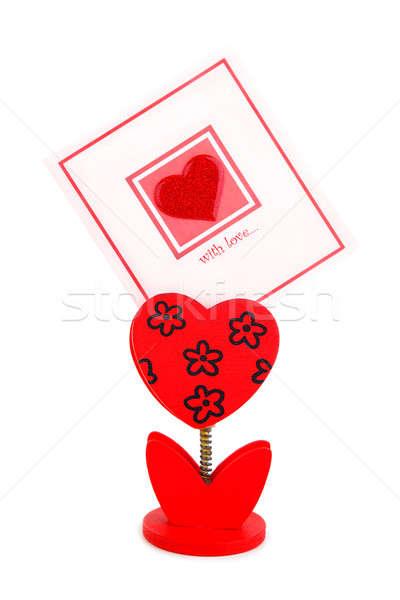 Boş kart kırmızı kalp çiçek yalıtılmış beyaz Stok fotoğraf © Anna_Om