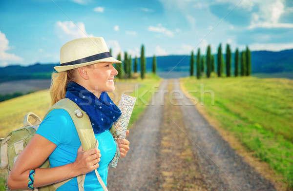Cute female trekking along Europe Stock photo © Anna_Om