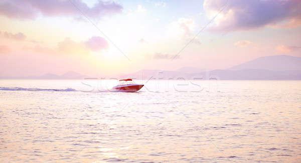 Luxo lancha mar rosa pôr do sol luz Foto stock © Anna_Om